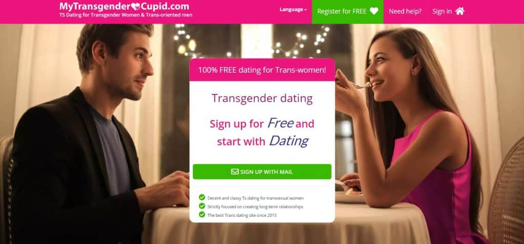 My Transgender Cupid home page of the site